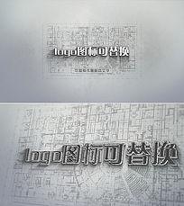 3d立体建筑蓝图CAD制图效果LOGO片头模板