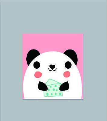 韩国可爱卡通吃蛋糕的熊猫记事本子图案