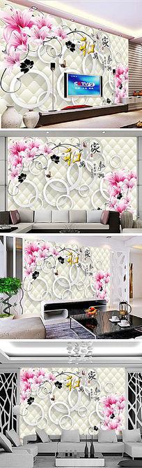 梦幻百合3D圆圈3D电视背景墙