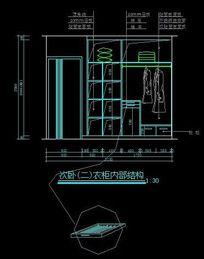 次卧室衣柜内部结构图