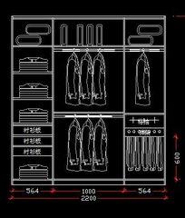 2.2米宽衣柜内部结构图
