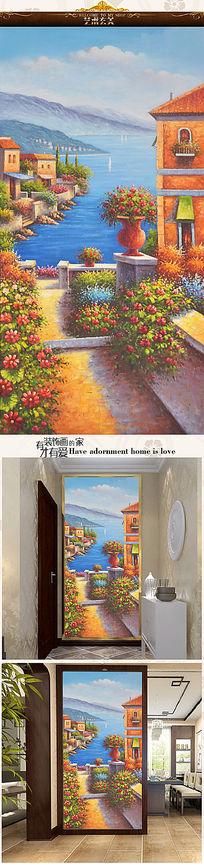 地中海风景油画艺术玄关图