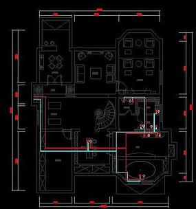 欧式古典风格别墅地下室水路布置图