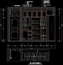 田园欧式风格老人房衣柜内部结构立面图