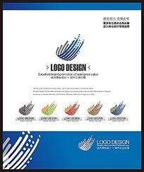 电子网络科技蓝色创意标志设计