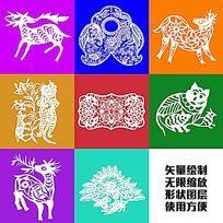 鹿老虎矢量图形绘制卡通图案