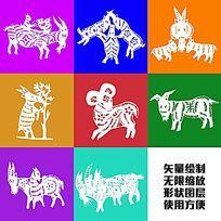 山羊动物形象矢量图形绘制图案