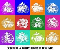 十二生肖寿桃矢量图形图像设计