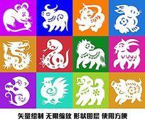 十二生肖图形图案动物矢量形状绘制图形