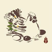 水墨风手绘插画鸡仔手绘矢量