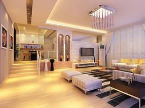 现代客厅3D模型效果图