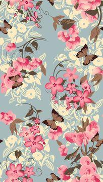 真丝面料印花素材蝴蝶大花组合