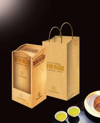 木盒酒包装效果VI场景智能贴图模板