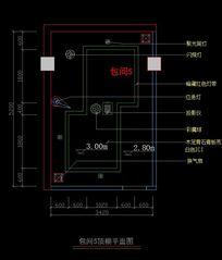高档KTV包间5顶棚天花平面图