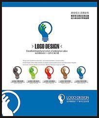 蓝色电子电器创意标志设计