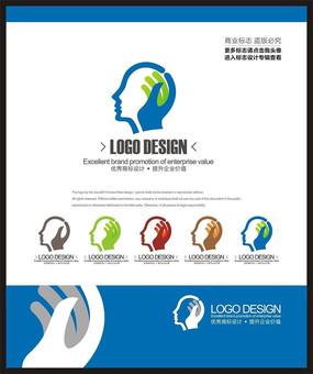 蓝色教育学校培训创意大脑标志设计