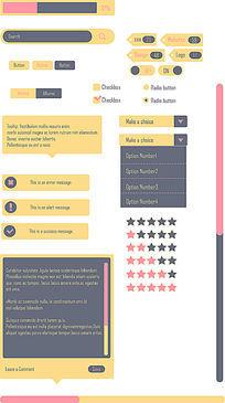 UI界面设计红黄灰简约UI界面设计
