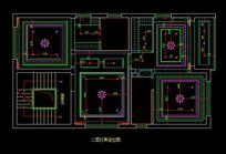 都市风格自建别墅二层灯具定位图