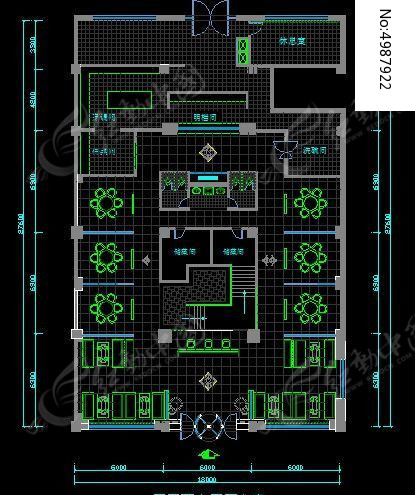 高端肥牛火锅店一层平面布置方案规划图