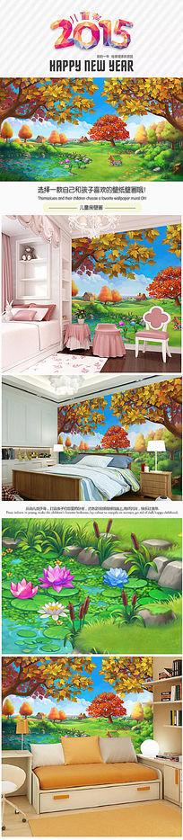 儿童房童话世界卡通风景背景壁画