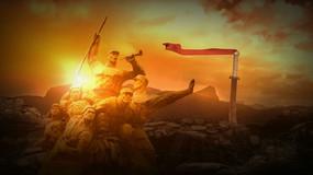 抗战背景雕塑视频素材