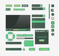 蓝绿色UI界面网页UI播放器界面移动UI界面