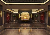 会所门厅禅风中式3d模型