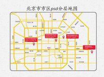 北京市区五环内道路分布图模板