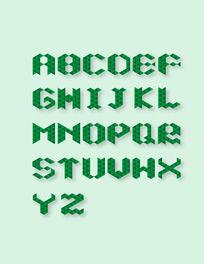 潮流格子几何元素英文字母设计