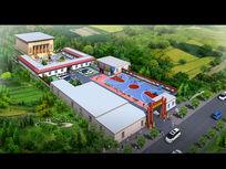 最新政府村委会中式建筑景观鸟瞰3dmax