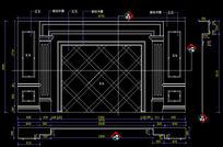 拿铁米黄玉石电视机背景墙CAD设计图