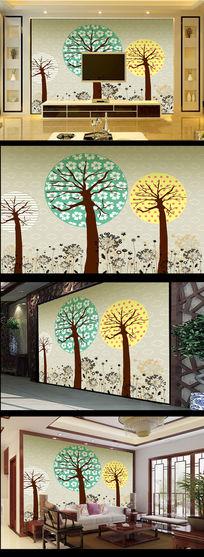 彩色卡通大树电视背景墙