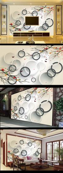 简约工笔画电脑手绘画3D圆圈电视背景墙