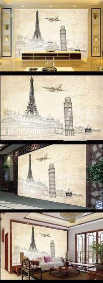 欧式风格欧美风格线条画巴黎铁塔斜塔电视背景墙