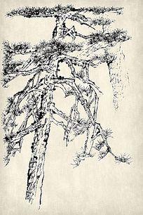 水墨山水松树国画挂图