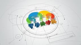 3款三维蓝图绘制Logo标志动画视频模板