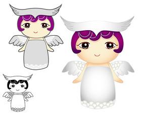 森女系带着翅膀的可爱女孩小天使AI矢量图