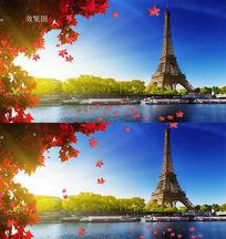 铁塔流水枫叶飘落视频背景