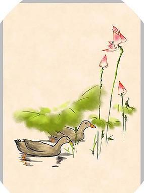 卡通小鸭子