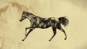 手绘效果马奔跑视频(带透明通道)