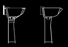 台盆柱盆CAD立面图