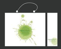绿色水墨矢量插图手提袋