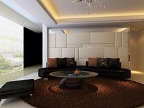豪华时尚客厅沙发背景墙装修3D模型