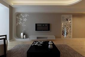 电视墙现代风格设计3D模型素材