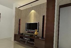 简约中式电视背景设计模型