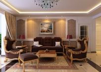 欧式客厅沙发背景设计3D模型