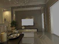 欧式造型背景墙设计模型素材