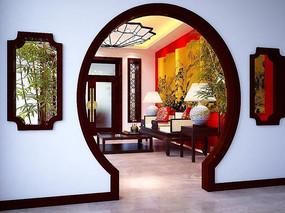 优雅中式客厅装修设计3D模型