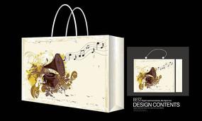 经典音乐矢量图手提袋设计模板