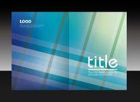 蓝色简洁方格画册封面设计